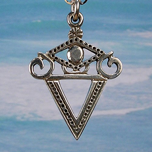 LA SIRENE VEVE – Solid Cast 925 Voodoo Veve Lwa Vodou Charm Pendant in Sterling Silver
