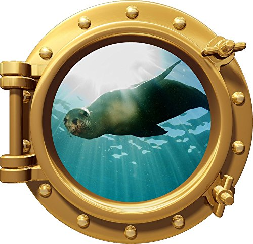 12'' Port Scape Instant Sea Window View SEA LION in OCEAN #1 BRONZE Porthole Wall Decal Graphic Sticker Mural Home Kids Game Room Art Decor NEW