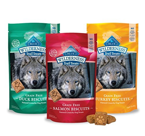 Blue Buffalo Wilderness Dog Trail Treat Biscuits Variety Pack - Grain Free - 3 Flavors (Duck, Turkey, Salmon) - 10 oz (3 Total Bags)