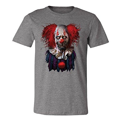 Scary Zombie Clown Men's T-Shirt Scared Fancy Halloween Costume Oct. 31st Tee Deep Heather (Oct 31 Halloween Day)