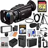 Sony Handycam FDR-AX700 4K HD Video Camera Camcorder 64GB Card + Battery & Charger + Tripod + Power Bank Hand Grip + Hard Case + LED Light + Mic + Filter + Kit
