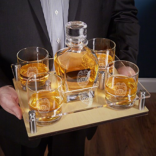 Police Badge Presentation Set with Decanter & Glasses by HomeWetBar | 6-Piece Set by HomeWetBar (Image #1)