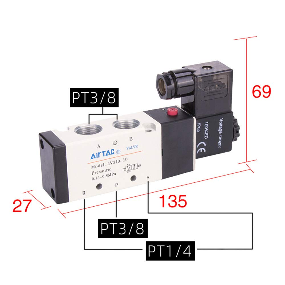Woljay Pneumatic Solenoid Air Valve 4V310-10 AC 24V PT 3//8 2 Position 5 Way Normally Closed