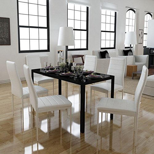 7 Piece Black White Dining Set Glass Table and 6 Artificial Leather Chairs by HomeSweet