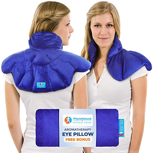 Neck and Shoulder Wrap - Natural Moist Heat Therapy for Muscle Pain, Tension Relief, Aches, Migraines, Headaches, and Arthritis - Instant Relief with deep Heat and Herbal ()