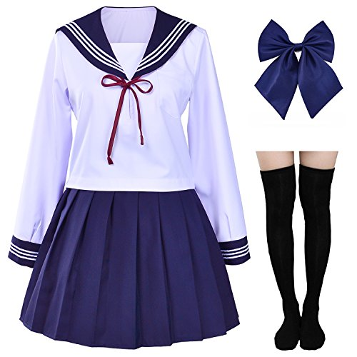 Japanese Sailor School Uniform Costume Anime Cosplay Dress Lolita Suit with Socks Set(S = Asia M)(SSF06CX)