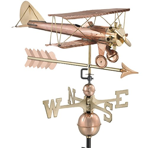 Weathervane Arrow - Good Directions Biplane with Arrow Weathervane, Pure Copper, Airplane Weathervanes, Aviation Décor