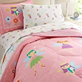 Wildkin Lightweight Twin Comforter Set, 100% Cotton Twin Comforter with Embroidered Details, Includes One Matching Sham, Coordinates with Other Room Décor, Olive Kids Design – Fairy Princess