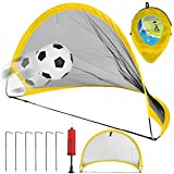 NiGHT LiONS TECH 29.5 inch Big Collapsible Soccer Goal Set of 2 with Travel Bag -kid Soccer Training Nets Ultra Portable Pop Up Football Goal Nets for Camping,Indoor Outdoor Sports Ball Game
