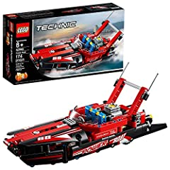 Thunder to the finish line with the aerodynamic 2-in1 LEGO Technic 42089 Power Boat replica, featuring a sporty aerodynamic design, open cockpit with steering wheel and tinted windshield, and a red and black color scheme with racing stickers....