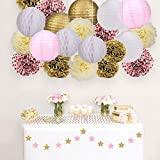 Skoye Mixed Pink Gold White Party Decoration Kit Tissue Paper Pom Poms Flowers Paper Lanterns and Star Garland for Birthday,Baby,Bridal Shower,Room Decor &Themed Party Decoration Favor