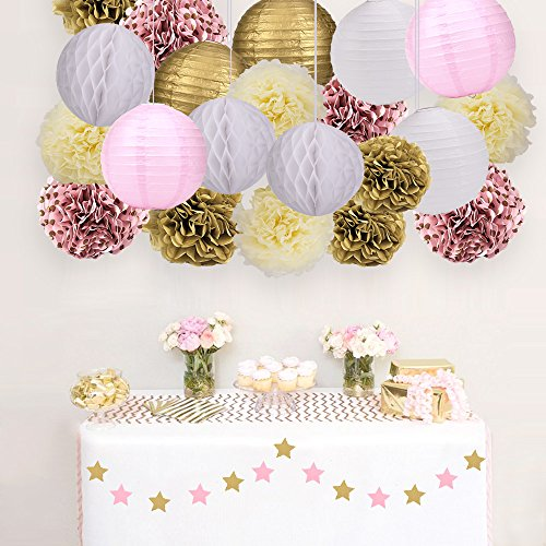 Skoye Mixed Pink Gold White Party Decoration Kit Tissue Paper Pom Poms Flowers Paper Lanterns and Star Garland for Birthday,Baby,Bridal Shower,Room Decor &Themed Party Decoration Favor by Skoye