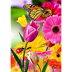 Tulip Zinnia Garden Flag Butterfly Colorful Spring Summer Blooms Double Sided 12.5'' X 18''