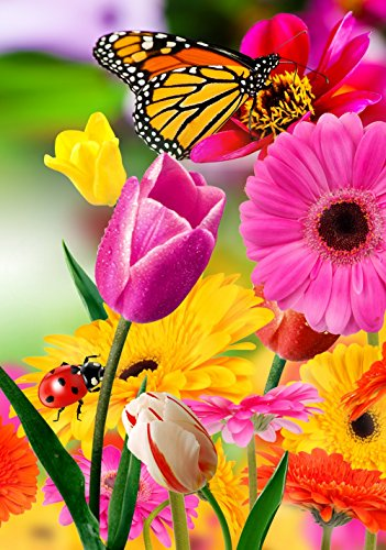 (Tulip Zinnia Garden Flag Butterfly Colorful Spring Summer Blooms Double Sided 12.5'' X 18'')