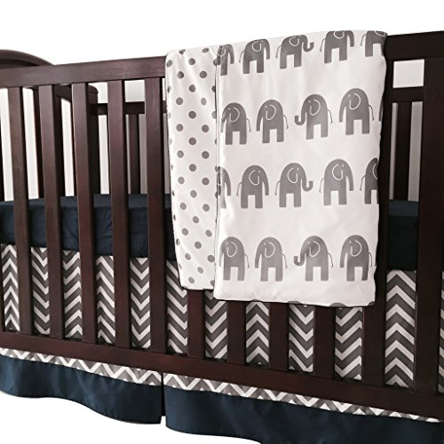 Sahaler Navy Blue Grey Chevron Elenphant 3 Piece Crib Bedding Set Baby Comforter Sheet Set