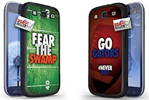 """Fear the Swamp and """"Go Gators"""" Chevron Sports Black Plastic Cover Case COMBO TWO PACK for Samsung Galaxy S3"""