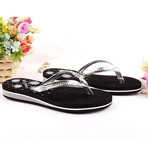Mesdames pantoufles taille mode UK3 2 été Couleur EU36 dérapant 5 CN36 chaussures femme plates anti femme plage pantoufles 1 rOxBHwzqr