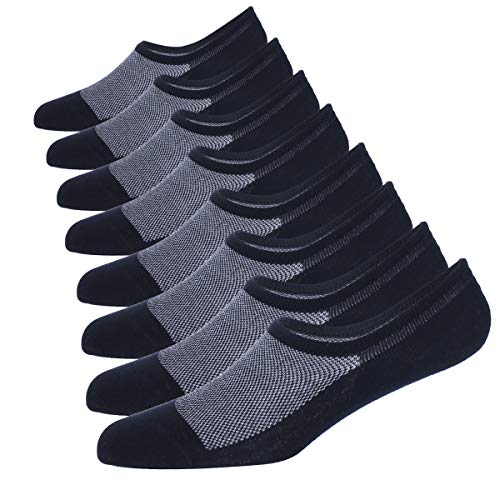 Shoes Without Socks - WANDER No Show Socks 8 Pairs Natural Cotton Thin Non Slip Low Cut Sock Size 6-12-Men&Women (8 Navy, Sock Size 10-12)