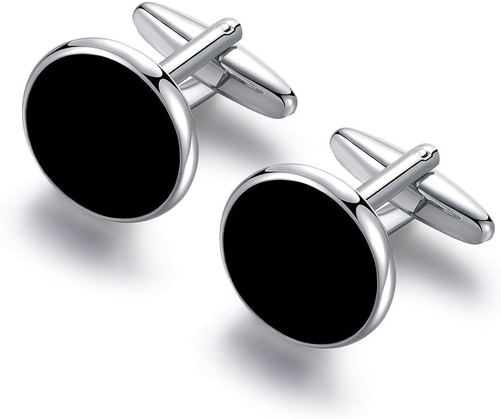 Ours et clous Miel argent/é noir onyx Lot de 6 en acier inoxydable pour hommes chemises Smoking de cadeau de mariage HONEY BEAR Boutons de manchette