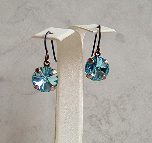 Aqua Blue 11MM Round Crystal Antique Copper Niobium Earrings Simulated Aquamarine March Birthstone Gift Idea