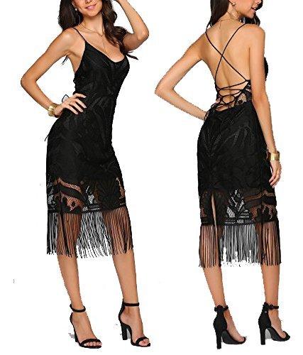 Vansop Women Full-Length Deep V-Neck Sexy Spaghetti Strap Lace Up Fringe Hem Dance Dress Black Small Fringe Hem Dress
