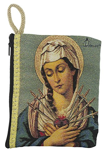 Good Shepherd Creations Large Tapestry Rosary Pouch with Traditional Catholic Art (Seven Sorrows)