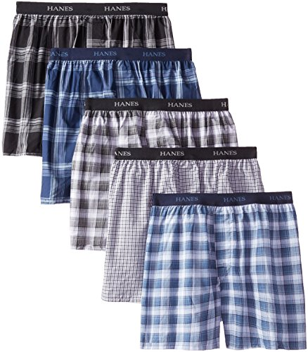 Hanes Ultimate Men's 5-Pack Ultimate Yarn Dye Exposed Waistband Boxer, Assorted, X-Large