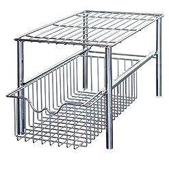 Kitchen DecoBros Stackable Under Sink Cabinet Sliding Basket Organizer Drawer,Chrome under-sink organizers