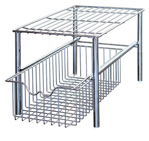 (DecoBros Stackable Under Sink Cabinet Sliding Basket Organizer Drawer,Chrome)