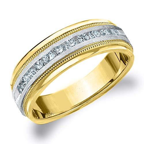 .50CT Heritage Men's Diamond Ring in 10K Two Tone Gold Satin Finish - Finger Size 8 (Tone Tiffany Two Ring)