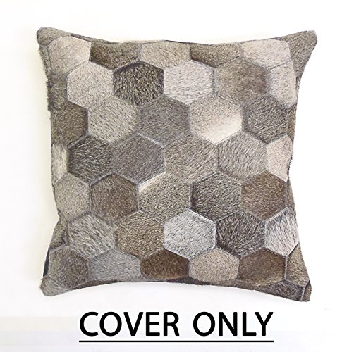 (Cotton Craft - Genuine Leather Cowhide Floor Pillow - Mosaic Charcoal Grey - 24 x 24 - Genuine Animal Skin - Hand pieced and patched by Skilled Artisans - Hidden Zipper Cover - Only Insert Required)