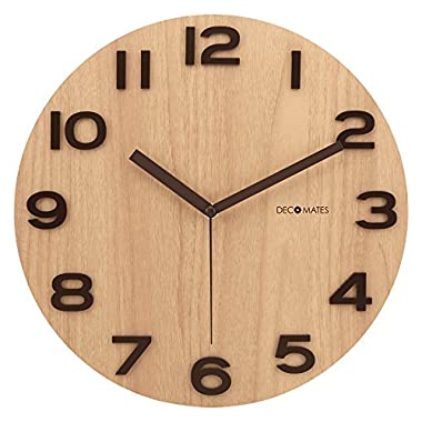 DecoMates Non-Ticking Silent Wooden Wall Clock - Cacao (Brown)