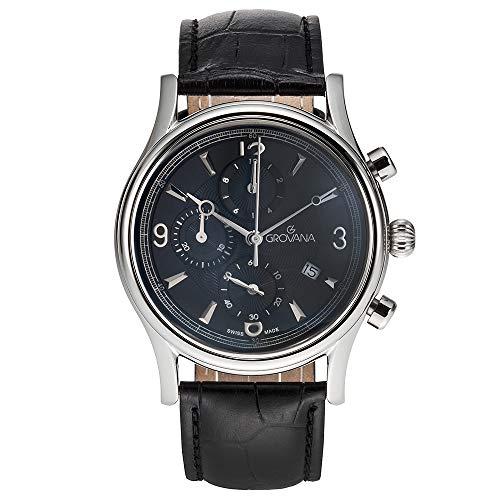 Grovana Traditional Men's Black Dial Quartz Chronograph Watch 1728.9537 by Grovana