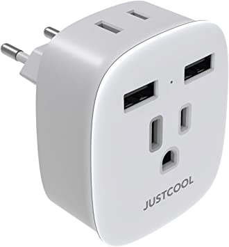 Justcool - Adaptador de enchufe de viaje europeo con 2 puertos USB y 2 tomas de corriente CA para la mayoría de Europa, España, Alemania, Islandia, Italia (tipo C), color blanco: Amazon.es: