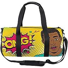 OuLian Duffel Bag Black White Polka Dot Women Garment Gym Tote Bag Best Sports Bag for Boys
