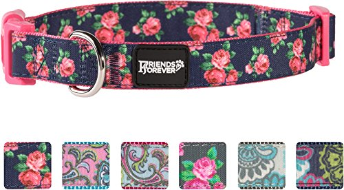 Friends Forever Dog Collar for Dogs, Fashion Print Garden Pattern Cute Puppy Collar, 11-16 Small Navy