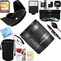 Canon Wide Angle EF-M 11-22mm f/4-5.6 IS STM Lens (7568B002) + 64GB Ultimate Filter & Flash Photography Bundle