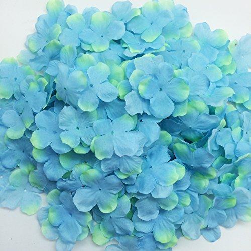PEPPERLONELY Brand Blue & Green Fabric Flower 4 Petals, 1 OZ Approx.220PC + Flower Petals, 50mm (2 Inch) (220 Petals)