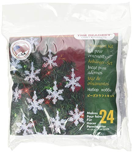 Beadery Holiday Beaded Ornament Kit, 2-Inch, Mini Snowflakes, Makes 24 Ornaments -