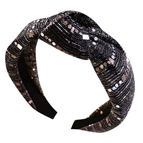 VOWUA Hairband Elegant Charming Vintage Crystal Fabric Hairband Head Wrap Hair Band Accessories 1PC]()