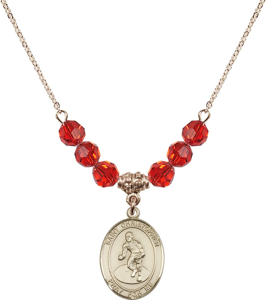 Gold Plated Necklace with 6mm Ruby Birthstone Beads & Saint Christopher/Wrestling Charm. by F A Dumont