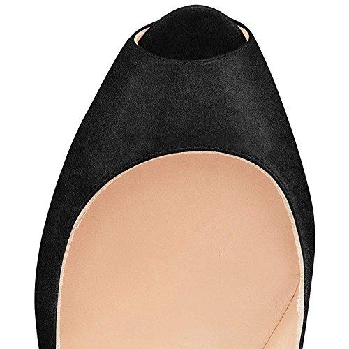 Donne Stiletti Caviglia Pompe Tacchi Toe Black Cinturini Piattaforma Cielo Peep Alti Ydn Metal Alla Calza 47f7Zngd