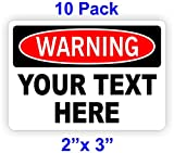 (10) 2x3 YOUR CUSTOM TEXT Personalized 2-inch X 3-inch Warning Decals   Vinyl Weatherproof Stickers   Volt Markers Danger Electrican Labels Signs Pinch Sharp Safety Business Factory Construction