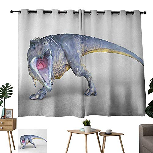 Grommet Waterproof Window Curtain Dinosaur Monstrous Aggressive Ancient Creature Detailed Vivid Hand Drawn Artwork Blue Yellow Pink Blackout Bedroom Curtain Thermal Insulated Energy Efficient W55