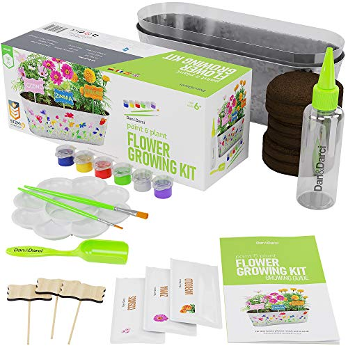 Paint & Plant Flower Growing Kit – Kids Gardening Science Gifts for Girls and Boys Ages 4 5 6 7 8 9 10 11 – STEM Arts…