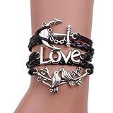 JUNKE Charms Leather Bracelet Handmade Infinity Weave Love Birds Anchors
