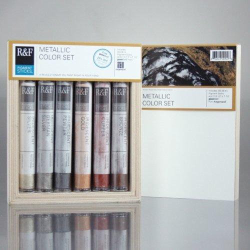 R&F Handmade Paints Pigment Sticks, Metallic Colors, Set Of 6 (2920)
