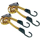 "Keeper 06104 Ultra 48"" Black/Yellow Flat Bungee Cord, 2 Pack"