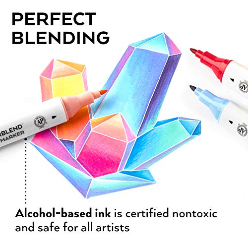ARTEZA Everblend Art Markers, Set of 60 Colors, Alcohol Based Sketch Markers with Dual Tips (Fine and Broad Chisel) for Painting, Coloring, Sketching and Drawing Include Organizer Case with 72 Slots