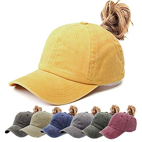 Vintage Girls Cap - Womens Ponytail Hat Vintage Washed Messy High Buns Ponycaps Baseball Trucker Cotton Adjustable (D1-Yellow(High Ponytail))